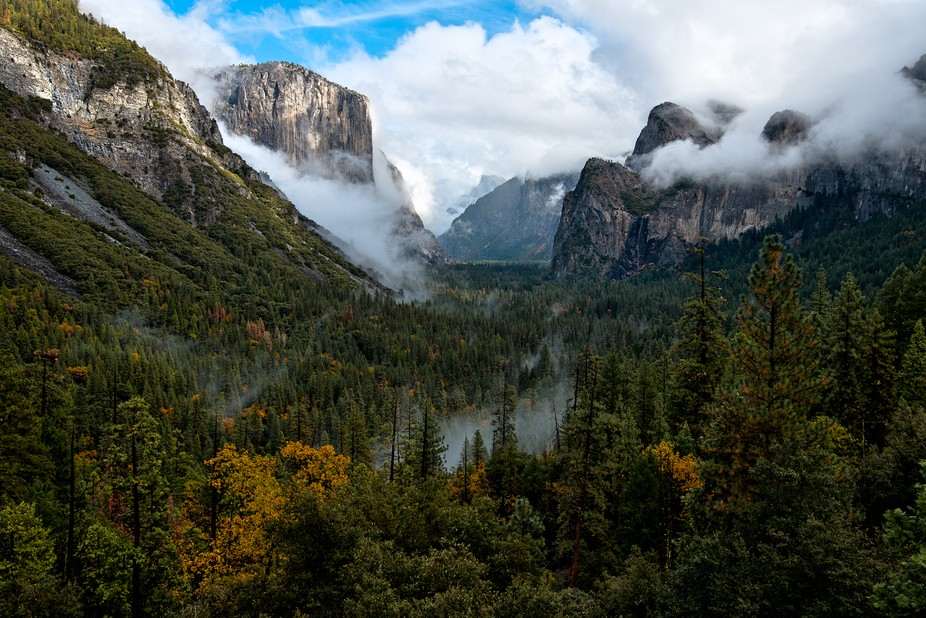 Tunnel View, clearing skies, first view of Yosemite as we existed Tunnel View.