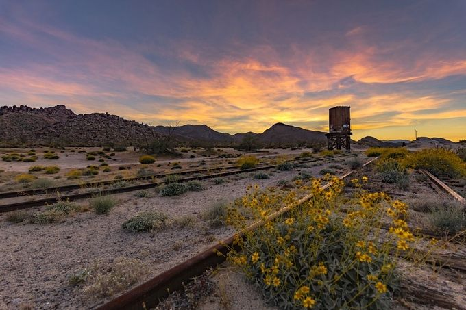 Colorful Sky at Sunset and Wildflowers at Dos Cabezas Siding by kevinkey_4266 - Empty Railways Photo Contest