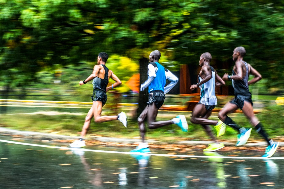 Elite runners competing at the 16th Annual Boston Half-Marathon on October 9th, 2016.
