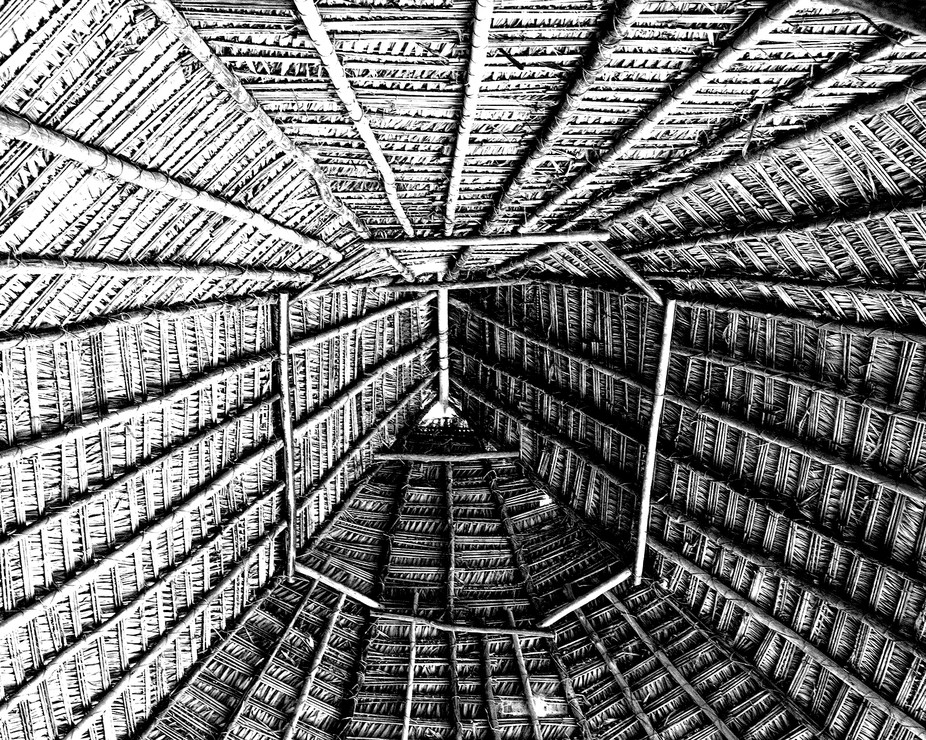 An inside view of a bamboo tent in Peruvian Village