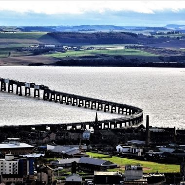 Looking down from Law Hill Dundee over the Rail bridge on the silvery Tay