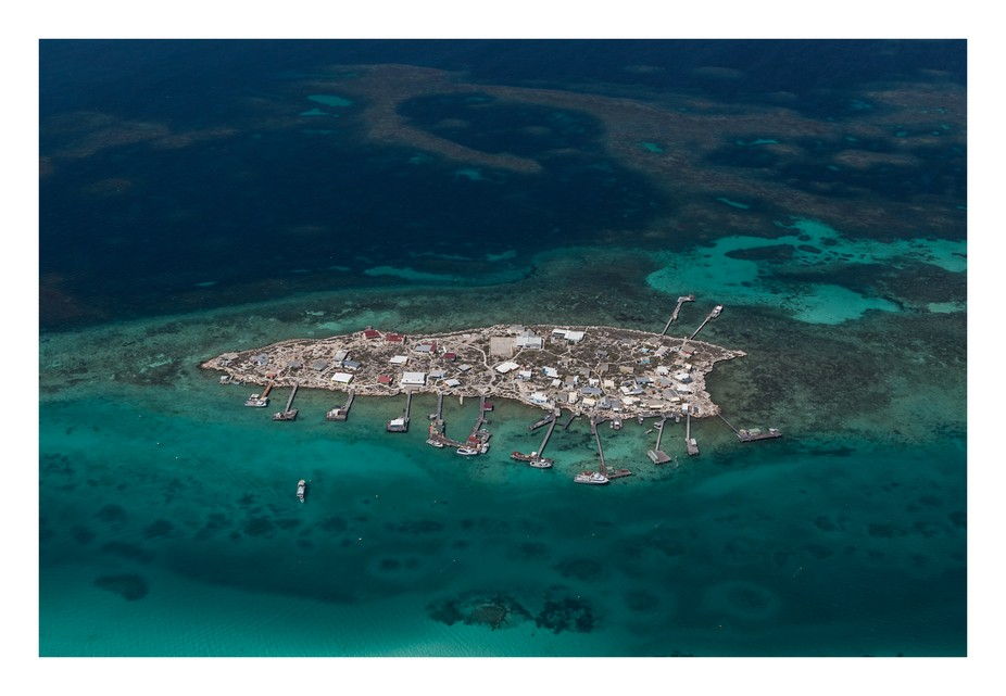 Aerial shot from a small plane. Abrolhos Islands, Western Australia. Rock Lobsters or Crayfish as...