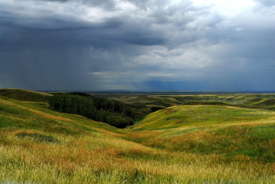 Rain storm coming in over The Divide in Southwest Saskatchewan (2016 July 26)