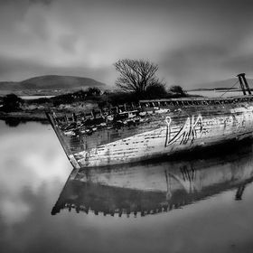 Old wreck off the coast of rossespoint beach sligo