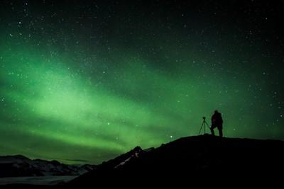 Aurora over Vatnajokull Park