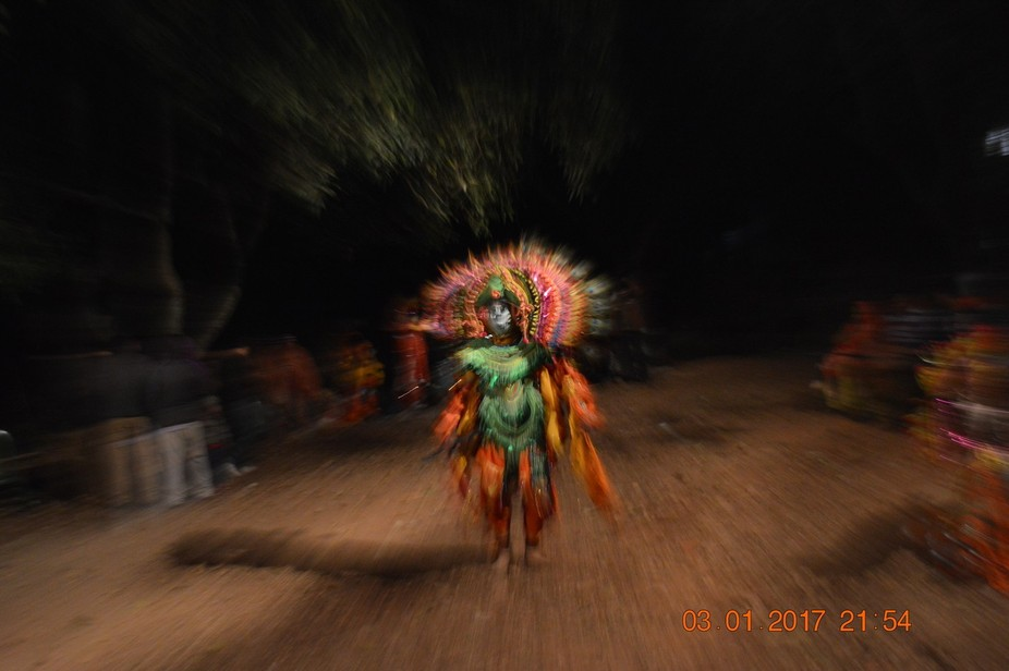 Chow a folk dance pattern of Puruliya,West Bengal, India, dancers wear hand made mask  of paper, ...