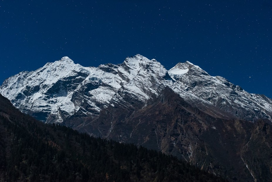 A view of Lumbo Himal mountain range from Gumba Lunging in Tsum valley, Himalayas, Nepal.