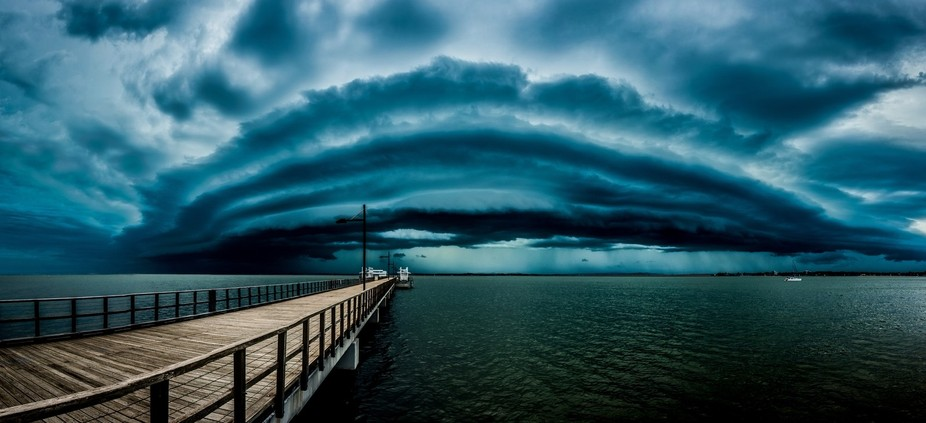 The storm front of a squall line that moved across Brisbane. This image is a near 180 degree pano...