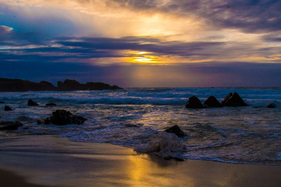 Carmel River State Beach after one of the many storms that caused so much damage yet fades away in this majestic sunset