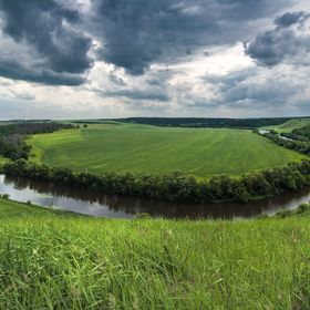 Bend of the river in the Tula region. Russia