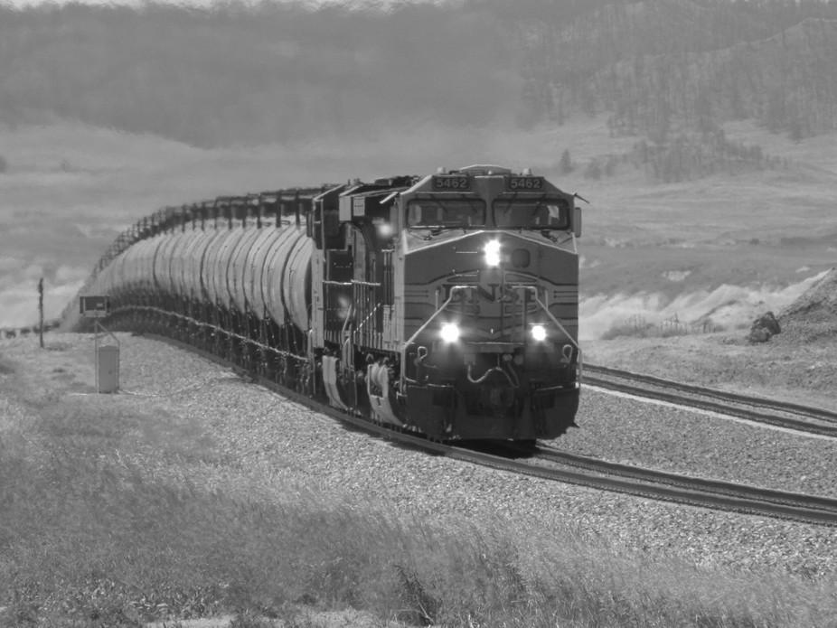 A passing train in South Dakota