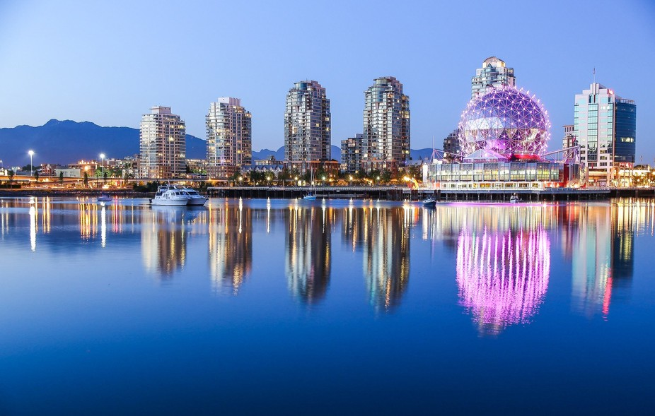 Science World glows pink on a beautiful, clear evening in Vancouver, Canada