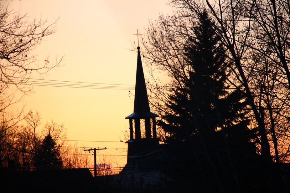 Church at sunset in Fort Smith, NT Canada