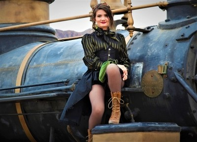 IMG_9339, Steampunk Gal and her Locomotive, Old Tucson Movie Studios, 3 Mar 17