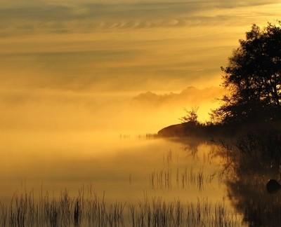 Sunrise, Lake in Hjarnap Sweden.