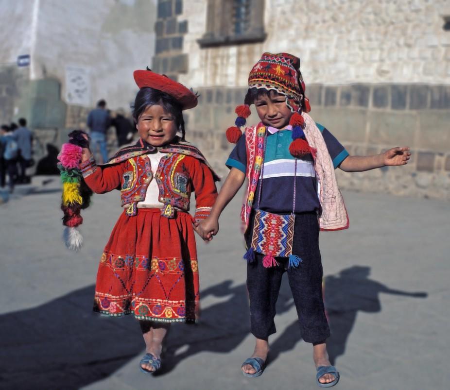 Children in national dress in Cusco, Peru.