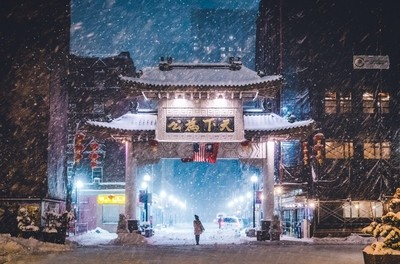 Snow storm in China Town