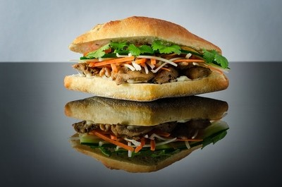 Vietnamese Pork Banh Mi Sandwich with Cilantro and carrot