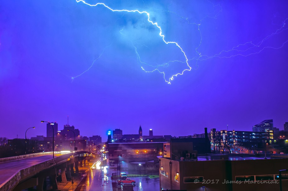 I always love a good thunderstorm... This was a really quick one - only a couple quick flashes. T...