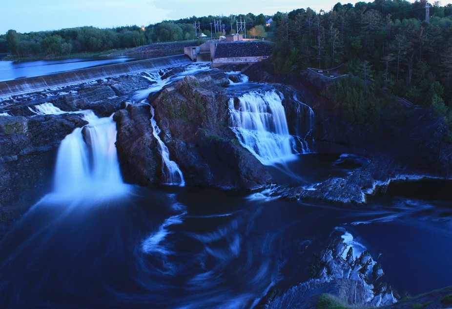 Evening view on the Waterfall of the river Chaudiere near Quebec City