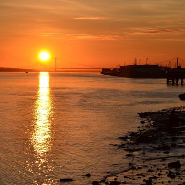 Sunset over the Humber Bridge and Victoria Pier, Hull, East Yorkshire UK. Taken from The Deep at Sammy's Point. You can't tell that the River Humber is Muddy brown on this one!  Nikon D3100+Nikon 18-55mmDx lens, F6.3, 1/640sec, ISO-200