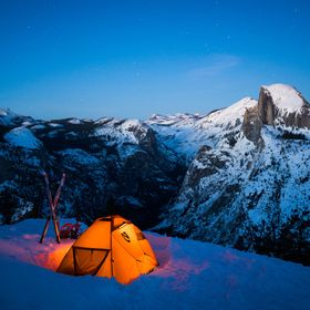 Winter camping at Glacier Point in Yosemite National Park.