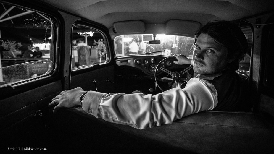 Shot in a classic car at a wedding in the Netherlands. This is the Groom who gave me the freedom ...