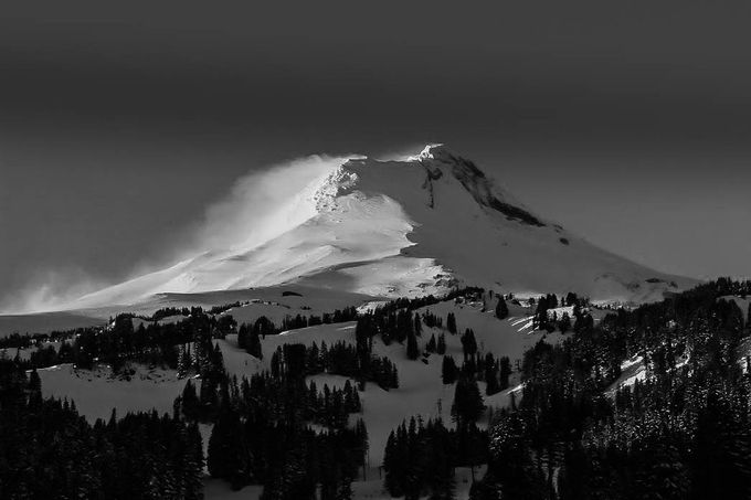 b&w snow on Mt. Hood (1 of 1) by Bracy10 - Black And White Mountain Peaks Photo Contest