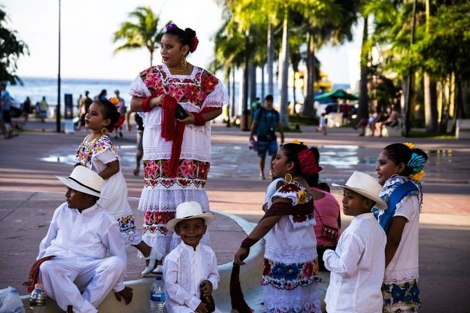 These little ones were waiting to perform in the square in Cozumel, Mx.