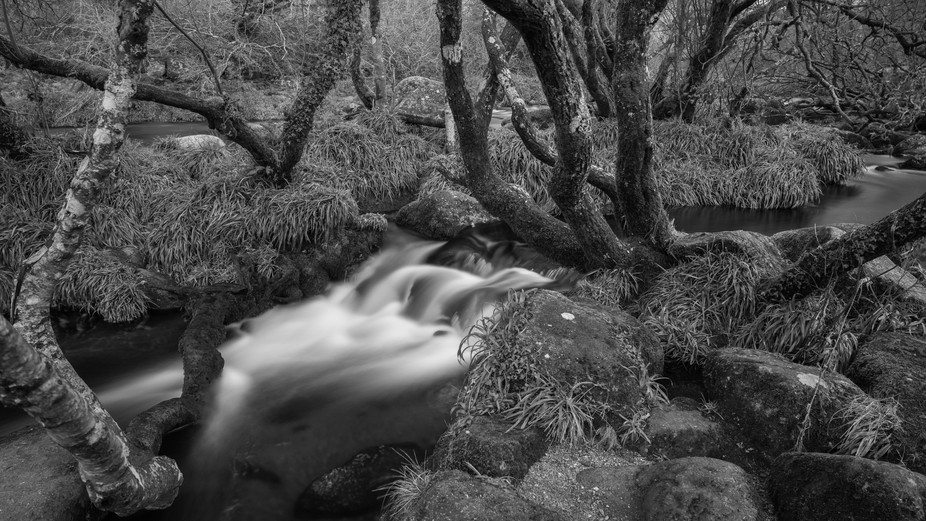 Long exposure of the West Dart River on Dartmoor, near to Dartmeet, on a cold December day.
