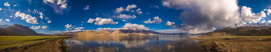 Panorama of Tso Moriri, a lake in the Ladakhi part of the Changthang Plateau (literally: northern...