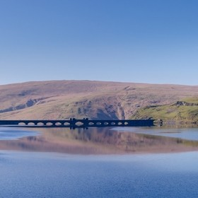 A 5 shot panorama looking down the Claerwen Reservoir toward the Dam taken yesterday morning on out visit to the Elan Valley