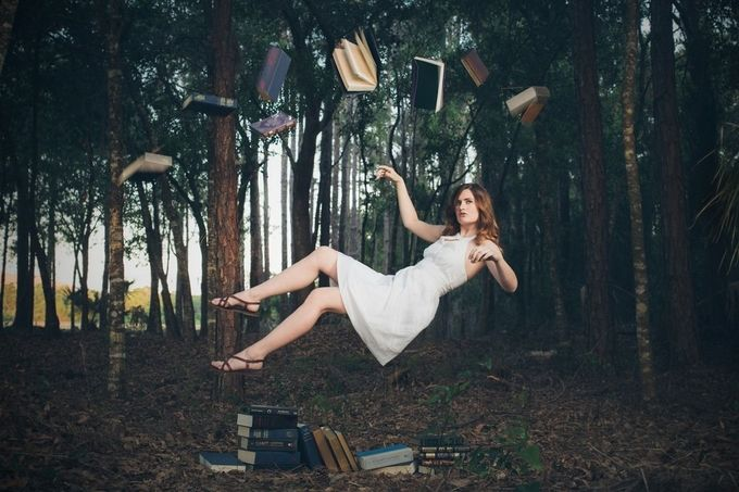 Floating in books by vbmatt1219631 - Levitation Art Photo Contest