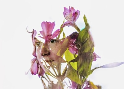 Double exposure with flowers - 2
