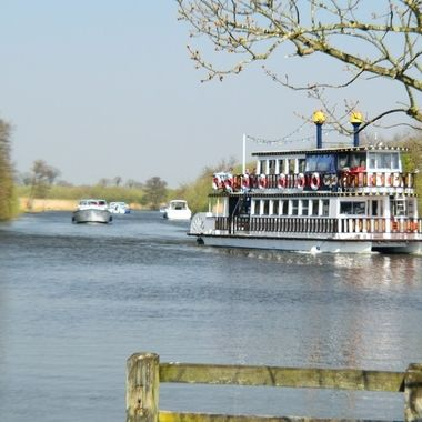 Paddle Boat on the Norfolk Broads, UK.