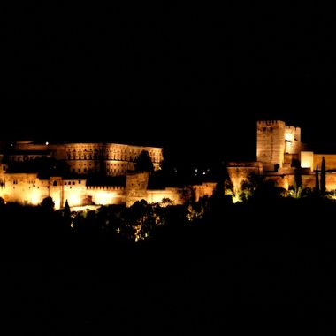 View of the Alhambra by night.Picture taken from San Nicolas hill in Granada, Spain