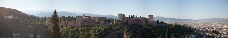 View of the Alhambra.Picture taken from San Nicolas hill in Granada, Spain