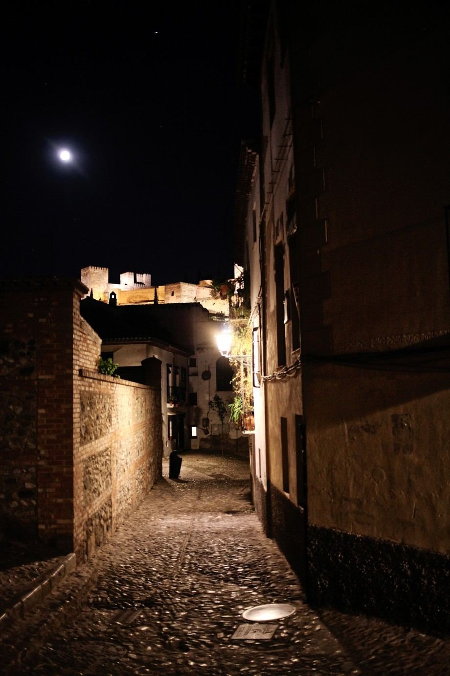 View of the Alhambra by night.Picture taken from an old street in San Nicolas hill, Granada, Spain