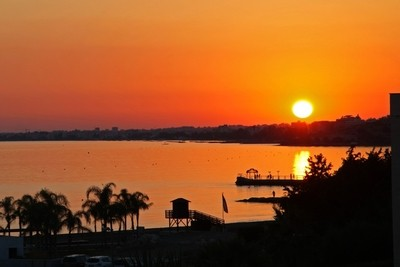 Sunset over the Mediterranean sea. Cyprus. Limassol. Amatus.