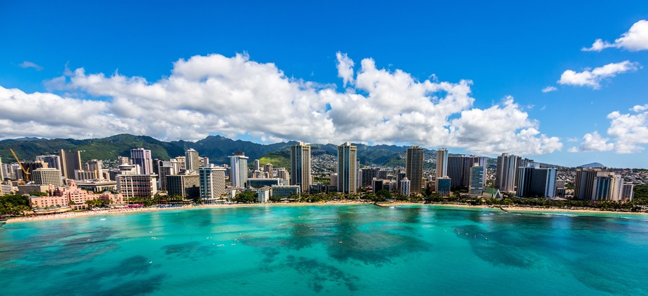 Waikiki's famous skyline on the island of Oahu, Hawaii.