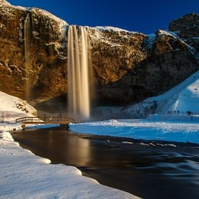 Seljalandsfoss near Eyafjallajökull short before the sunset and with a lot of snow.......