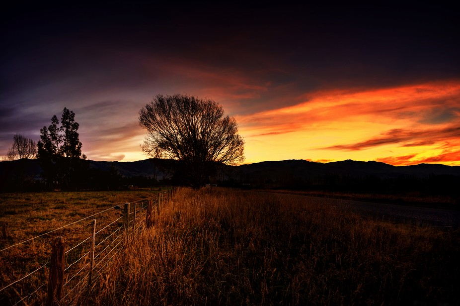 Sunset toward the Hunter hills.  South Canterbury- New Zealand
