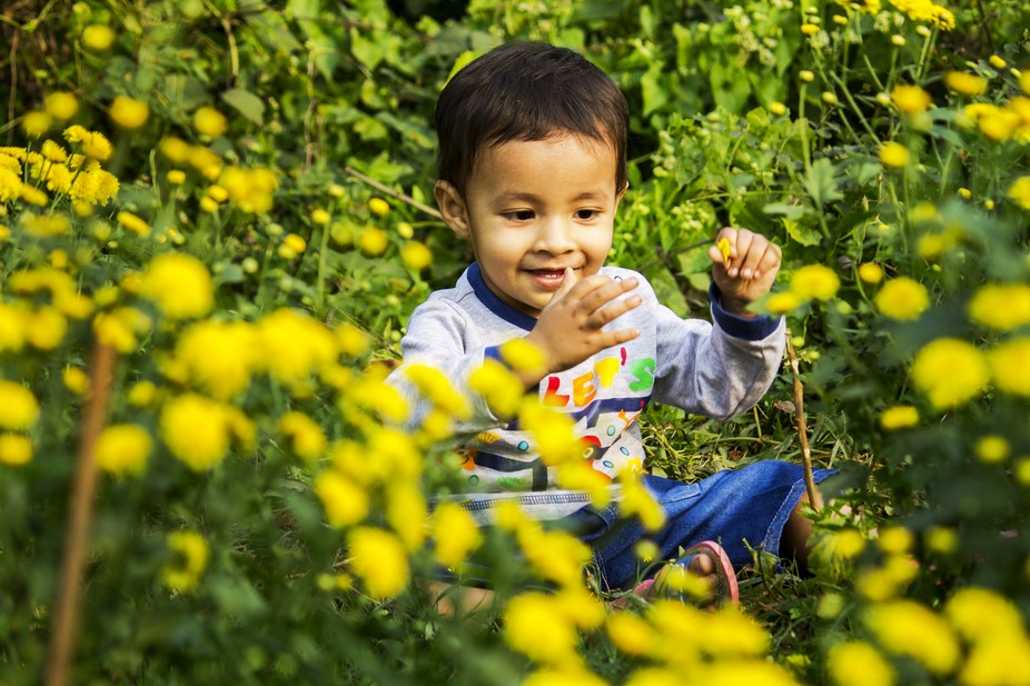 He is very happy to see the flowers. he play with the flowers and blooming as the flowers.