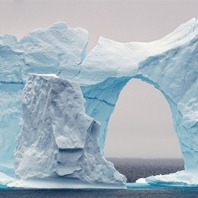 beautiful art made by mother nature, as far as you could see there was only water except this one arch of ice