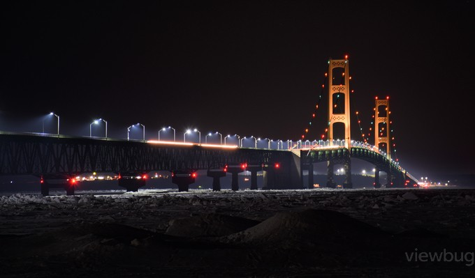 The Mackinac Bridge on a winters night by Jimbo454 - Spectacular Bridges Photo Contest