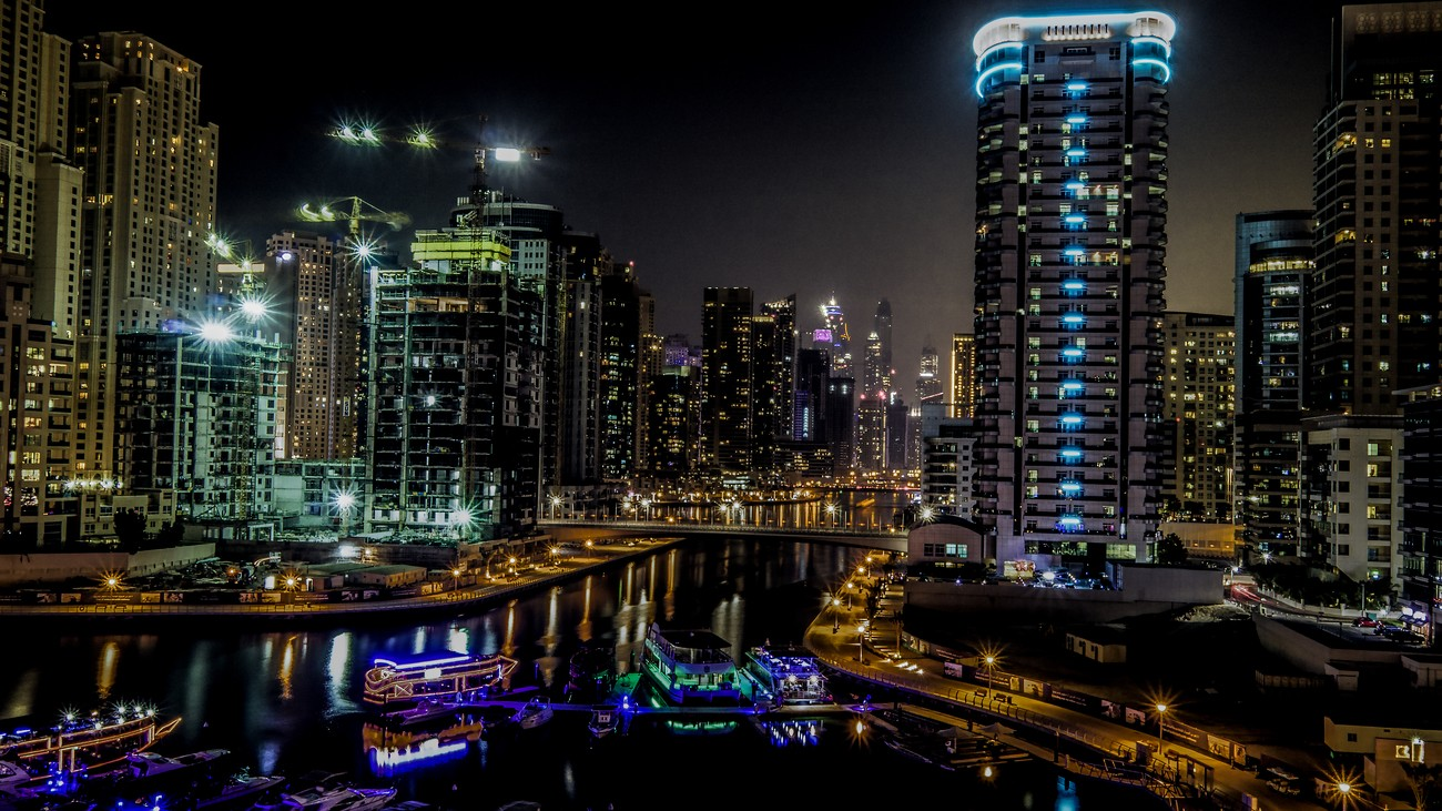Dubai Marina at night. A magical place of entertainment and colour.