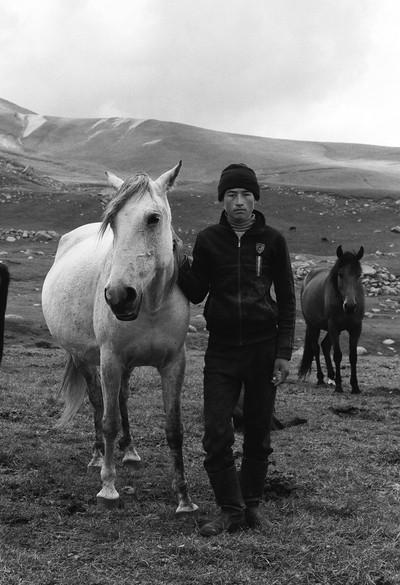 Tlegen with Horses, Teskey Ala-Too near Tossor Pass, Tian Shan, Kyrgyzstan, August 2016