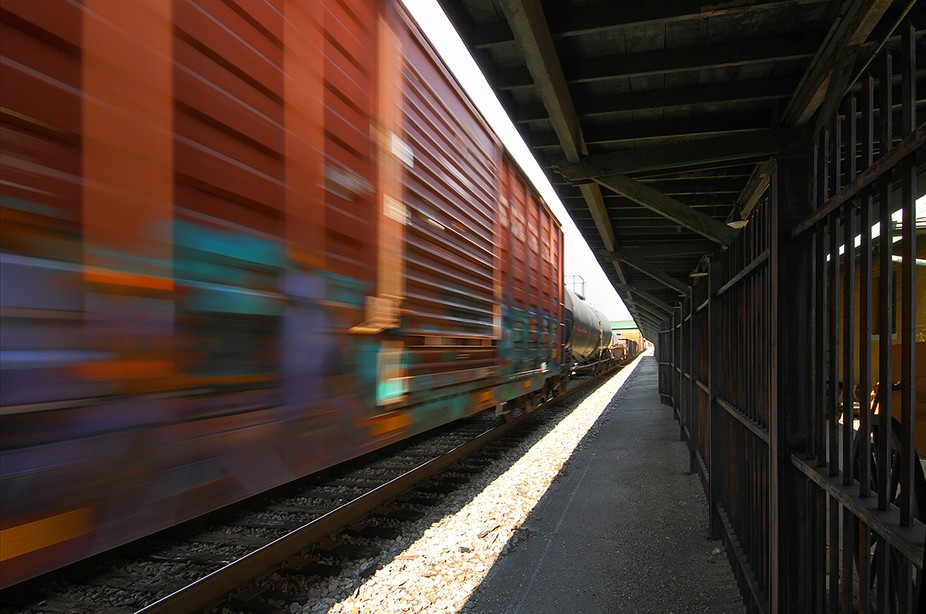 Image captured at Huntsville Alabama Depot as a freight train passed the historic depot
