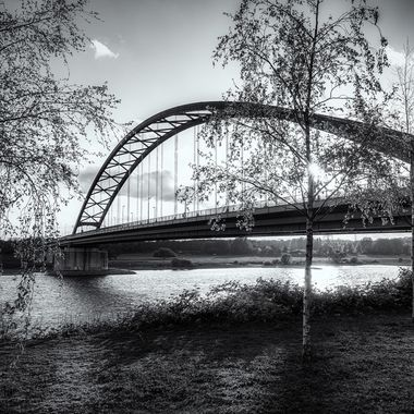 This bridge crosses the Rhine River near Duisburg.