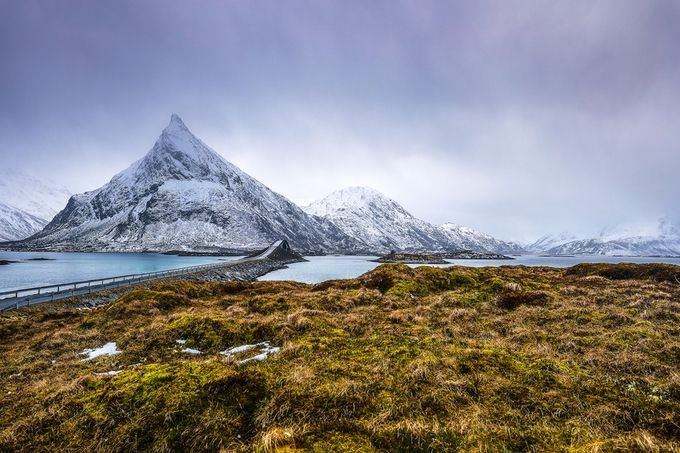 Mountain Norway road and scenic landscape of Lofoten islands. by kireevart - Country Roads Photo Contest
